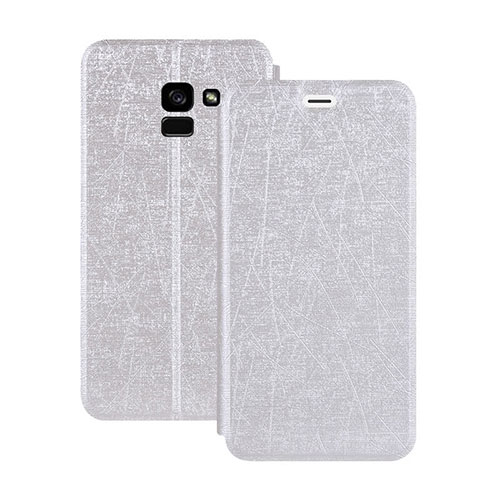 Leather Case Stands Flip Cover for Samsung Galaxy A5 (2018) A530F White
