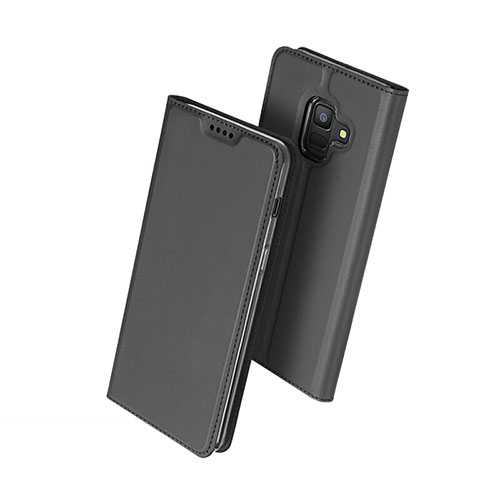 Leather Case Stands Flip Cover for Samsung Galaxy A6 (2018) Dual SIM Black