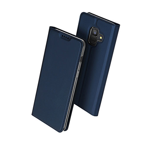 Leather Case Stands Flip Cover for Samsung Galaxy A6 (2018) Dual SIM Blue