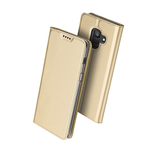 Leather Case Stands Flip Cover for Samsung Galaxy A6 (2018) Gold