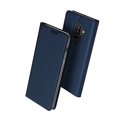 Leather Case Stands Flip Cover for Samsung Galaxy A6 Plus Blue