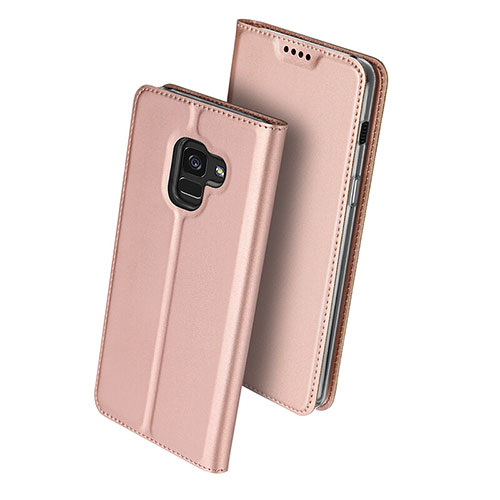 Leather Case Stands Flip Cover for Samsung Galaxy A8 (2018) A530F Rose Gold