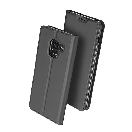Leather Case Stands Flip Cover for Samsung Galaxy A8 (2018) Duos A530F Black