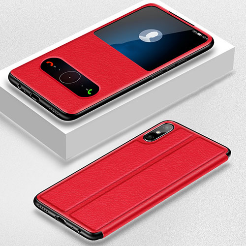 Leather Case Stands Flip Cover Holder for Huawei Enjoy 10e Red