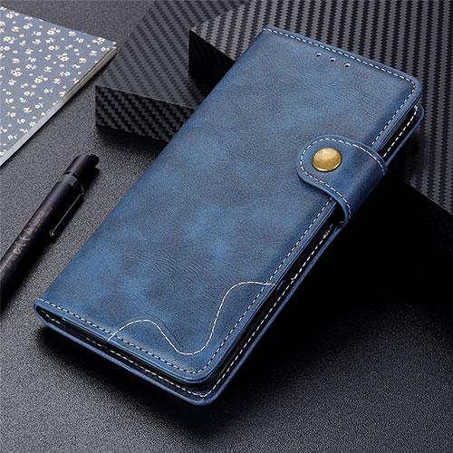 Leather Case Stands Flip Cover Holder for Motorola Moto G9 Plus Blue