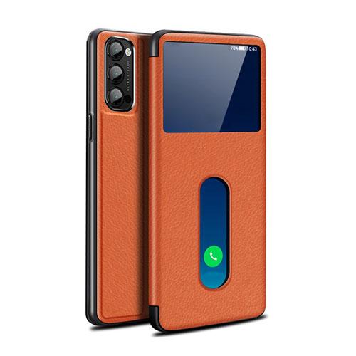 Leather Case Stands Flip Cover Holder for Oppo Reno4 Pro 5G Orange