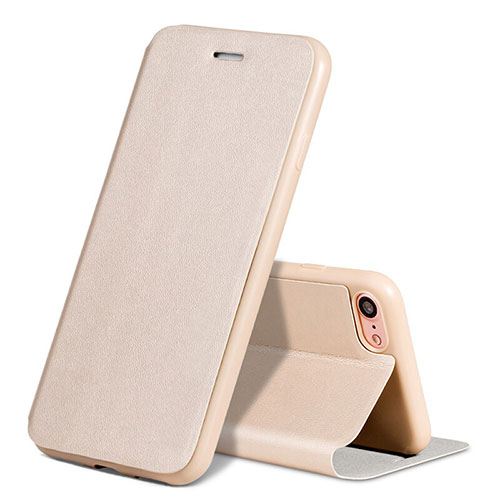 Leather Case Stands Flip Cover L01 for Apple iPhone SE (2020) Gold