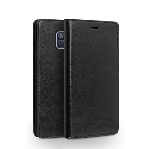Leather Case Stands Flip Cover L01 for Samsung Galaxy A6 (2018) Black