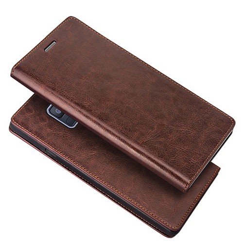 Leather Case Stands Flip Cover L01 for Samsung Galaxy A6 (2018) Dual SIM Brown