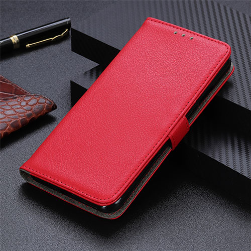 Leather Case Stands Flip Cover L03 Holder for Motorola Moto G9 Plus Red