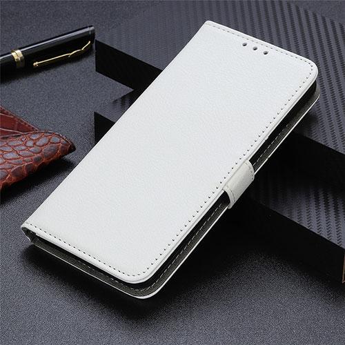 Leather Case Stands Flip Cover L03 Holder for Motorola Moto G9 Plus White