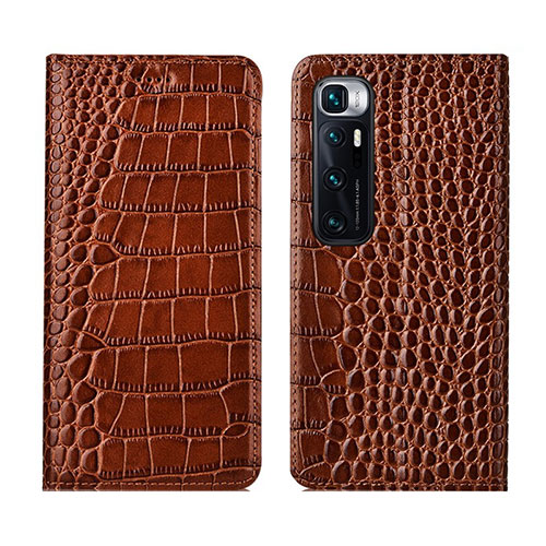 Leather Case Stands Flip Cover L04 Holder for Xiaomi Mi 10 Ultra Light Brown