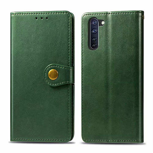 Leather Case Stands Flip Cover L06 Holder for Oppo Reno3 A Green