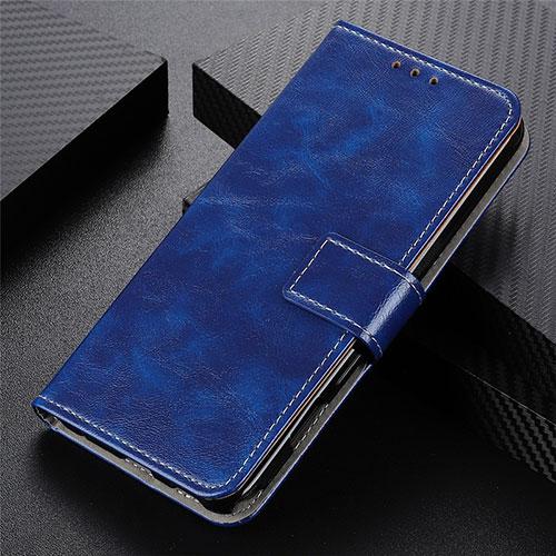 Leather Case Stands Flip Cover L07 Holder for Motorola Moto G9 Plus Blue