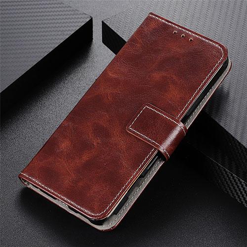 Leather Case Stands Flip Cover L07 Holder for Motorola Moto G9 Plus Brown