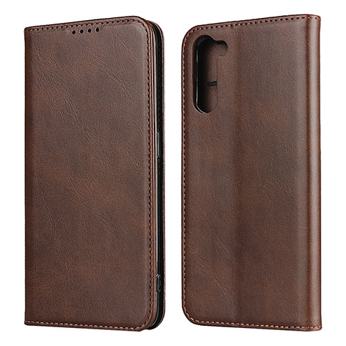 Leather Case Stands Flip Cover L08 Holder for Oppo Reno3 A Brown