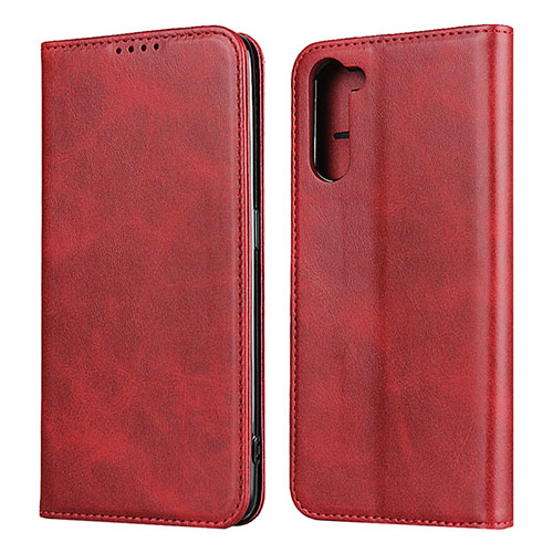 Leather Case Stands Flip Cover L08 Holder for Oppo Reno3 A Red