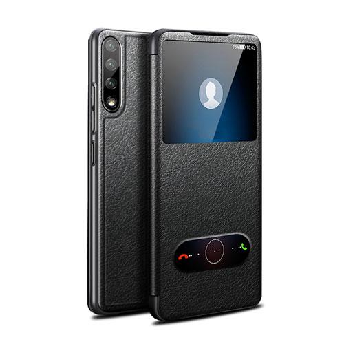 Leather Case Stands Flip Cover L12 Holder for Huawei Enjoy 10S Black