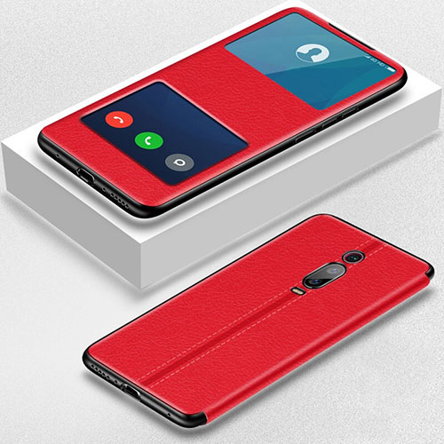 Leather Case Stands Flip Cover T02 Holder for Xiaomi Mi 9T Pro Red