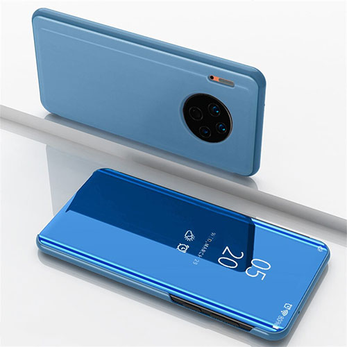Leather Case Stands Flip Mirror Cover Holder for Huawei Mate 30 Pro 5G Blue