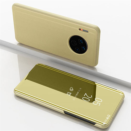 Leather Case Stands Flip Mirror Cover Holder for Huawei Mate 30 Pro 5G Gold