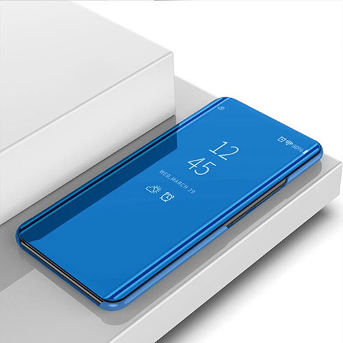 Leather Case Stands Flip Mirror Cover Holder for Huawei P Smart (2020) Blue