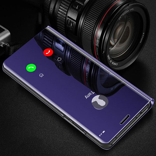 Leather Case Stands Flip Mirror Cover Holder L02 for Huawei Y8p Purple