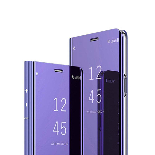 Leather Case Stands Flip Mirror Cover Holder L03 for Huawei Enjoy 10S Purple