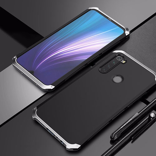Luxury Aluminum Metal Cover Case for Xiaomi Redmi Note 8 Silver and Black