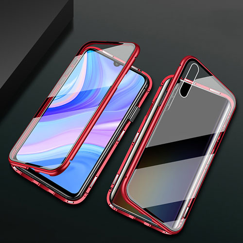 Luxury Aluminum Metal Frame Mirror Cover Case 360 Degrees for Huawei Enjoy 10S Red
