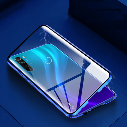 Luxury Aluminum Metal Frame Mirror Cover Case 360 Degrees M01 for Xiaomi Redmi Note 8 Blue