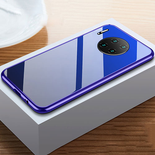 Luxury Aluminum Metal Frame Mirror Cover Case 360 Degrees M02 for Huawei Mate 30 Pro 5G Blue