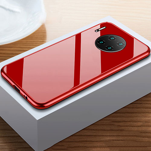 Luxury Aluminum Metal Frame Mirror Cover Case 360 Degrees M02 for Huawei Mate 30 Pro 5G Red