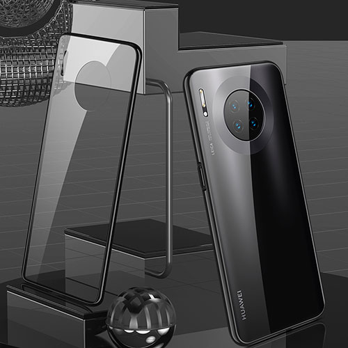 Luxury Aluminum Metal Frame Mirror Cover Case 360 Degrees M03 for Huawei Mate 30 Pro 5G Black