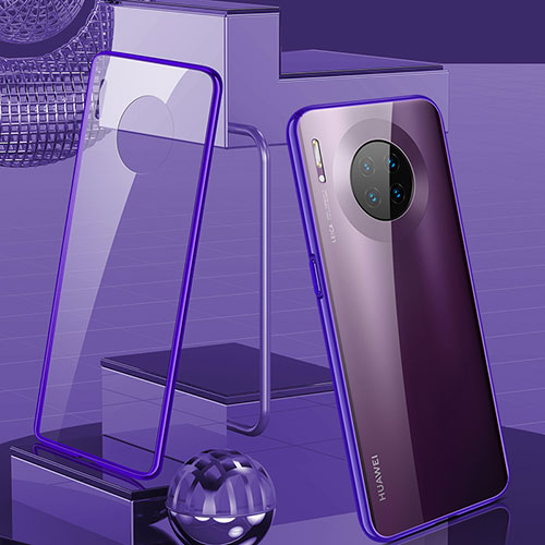 Luxury Aluminum Metal Frame Mirror Cover Case 360 Degrees M03 for Huawei Mate 30 Pro 5G Purple