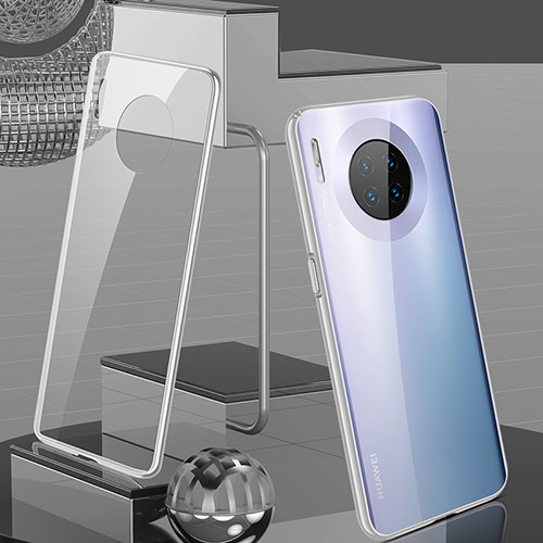 Luxury Aluminum Metal Frame Mirror Cover Case 360 Degrees M03 for Huawei Mate 30 Pro 5G Silver
