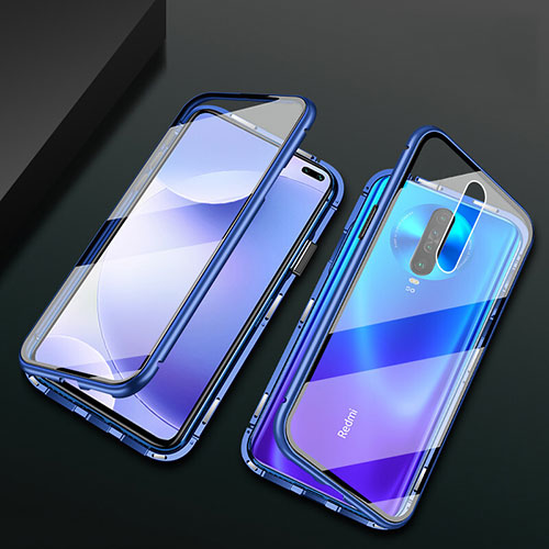 Luxury Aluminum Metal Frame Mirror Cover Case 360 Degrees M03 for Xiaomi Redmi K30 5G Blue