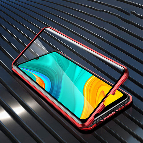 Luxury Aluminum Metal Frame Mirror Cover Case 360 Degrees M05 for Huawei Enjoy 10e Red