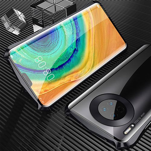 Luxury Aluminum Metal Frame Mirror Cover Case 360 Degrees M05 for Huawei Mate 30 Pro 5G Black