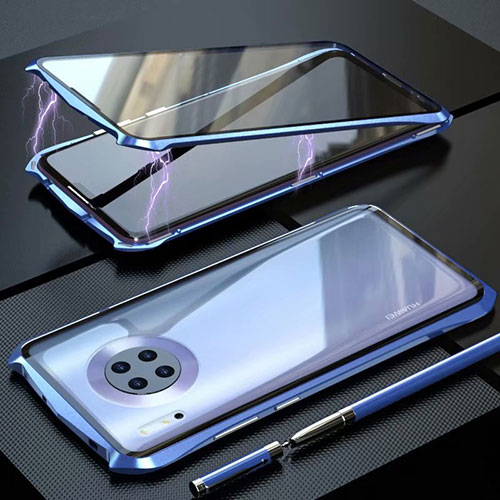 Luxury Aluminum Metal Frame Mirror Cover Case 360 Degrees M06 for Huawei Mate 30 Pro 5G Blue