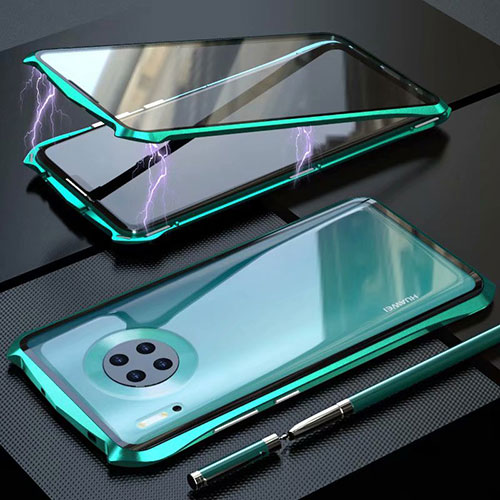 Luxury Aluminum Metal Frame Mirror Cover Case 360 Degrees M06 for Huawei Mate 30 Pro 5G Green
