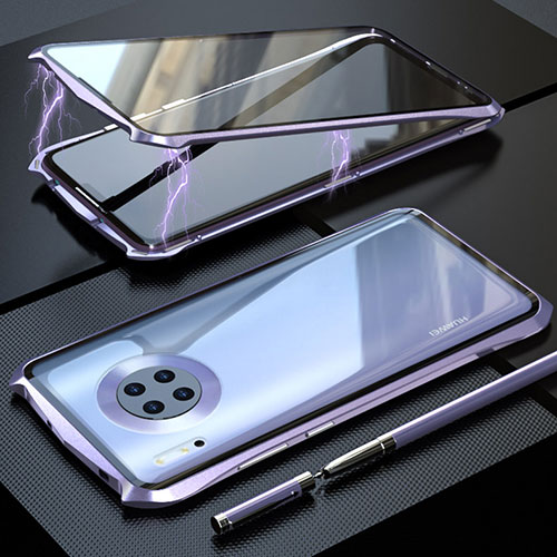 Luxury Aluminum Metal Frame Mirror Cover Case 360 Degrees M08 for Huawei Mate 30 Pro 5G Purple
