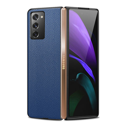 Luxury Leather Snap On Case Cover for Samsung Galaxy Z Fold2 5G Blue