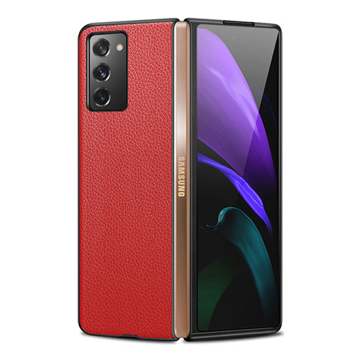 Luxury Leather Snap On Case Cover for Samsung Galaxy Z Fold2 5G Red