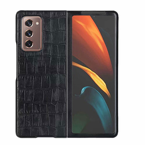 Luxury Leather Snap On Case Cover S02 for Samsung Galaxy Z Fold2 5G Black