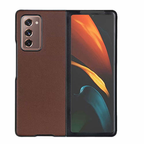 Luxury Leather Snap On Case Cover S03 for Samsung Galaxy Z Fold2 5G Brown