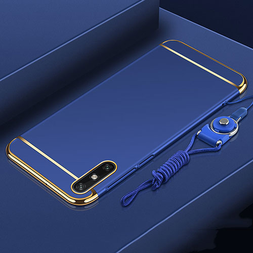 Luxury Metal Frame and Plastic Back Cover Case M03 for Huawei Enjoy 10e Blue