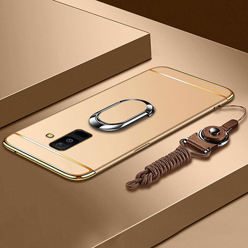 Luxury Metal Frame and Plastic Back Cover with Finger Ring Stand and Lanyard for Samsung Galaxy A6 Plus Gold