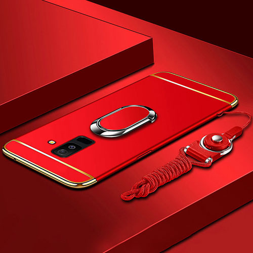 Luxury Metal Frame and Plastic Back Cover with Finger Ring Stand and Lanyard for Samsung Galaxy A6 Plus Red