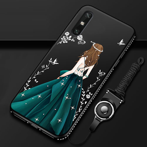 Silicone Candy Rubber Gel Dress Party Girl Soft Case Cover for Huawei Enjoy 10e Green